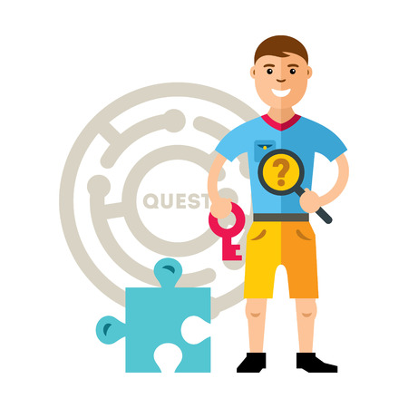 questionably: Boy with magnifying glass and key near the puzzle on the background of the labyrinth. Illustration