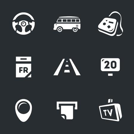nomadism: wheel, bus, bag, calendar, highway, road sign, pointer, check, TV