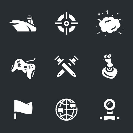 portable console: Vector Icons Set of Ship Video Games.