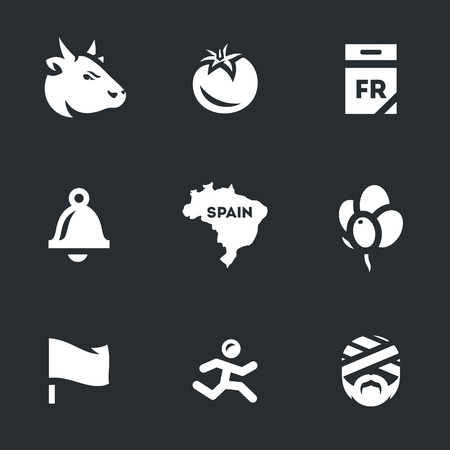 tradition: Vector Icons Set of Race bulls in Spain. Illustration