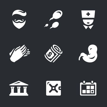 Vector Icons Set of Reproduction Bank.