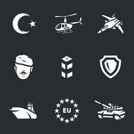 geopolitics: Vector Icons Set of Turkish army.