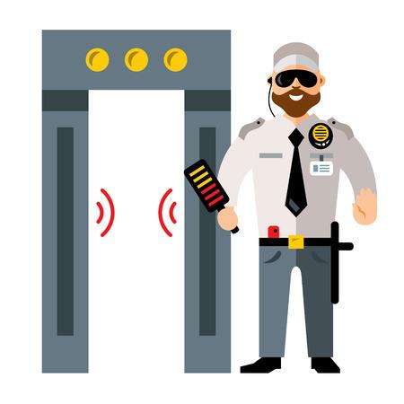 Porte de détecteur de métaux de vecteur aéroport et homme de sécurité. Illustration de Cartoon colorée style plat.