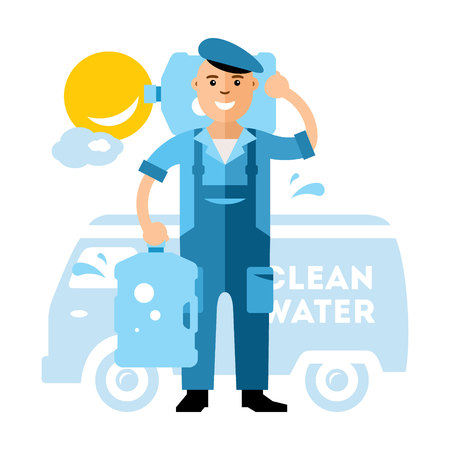 overnight delivery: Vector Clean Water delivery. Flat style colorful Cartoon illustration. Illustration