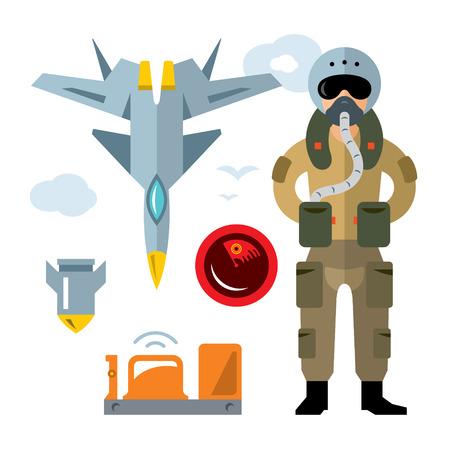 pilot  cockpit: Vector Air Force pilot. Flat style colorful Cartoon illustration.
