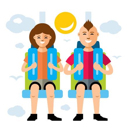 caida libre: Chica y niño en un asiento de seguridad. Aislado en un fondo blanco