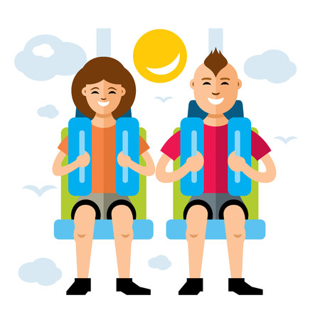Girl and boy in a safety seat. Isolated on a white background Illustration