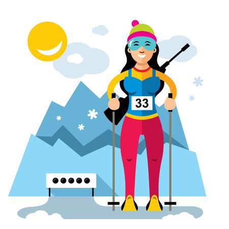 Vector Biathlon Concept. Flat style colorful Cartoon illustration. Illustration