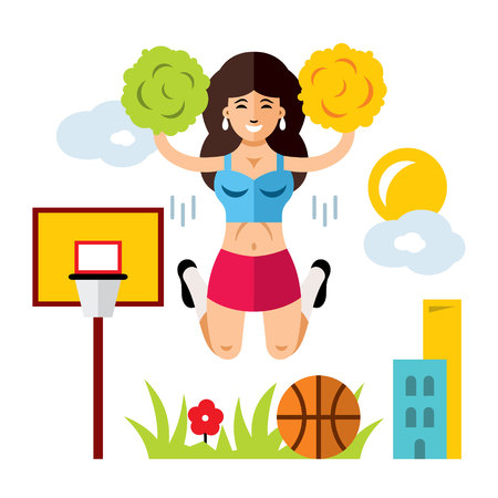 Vector Cheerleading Concept. Flat style colorful Cartoon illustration.