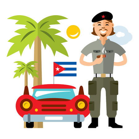 Vector Cuba Travel Concept. Flat style colorful Cartoon illustration. Illustration