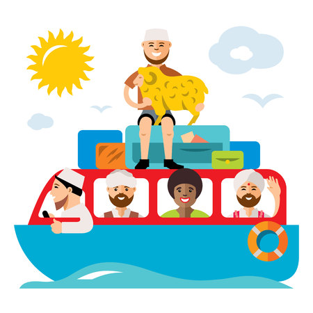 stateless: Vecctor Refugee migrants boat. Illegal migration. Flat style colorful Cartoon illustration.