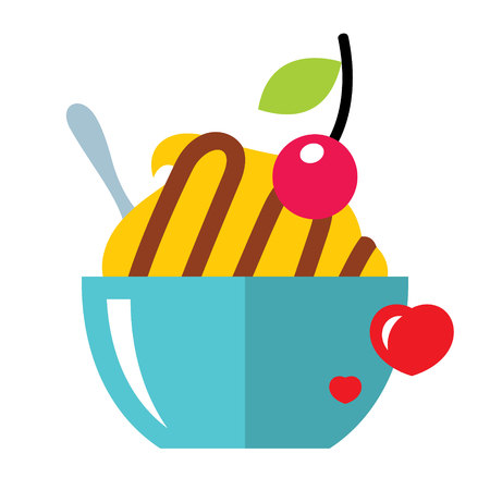 Love Sweet Dessert in a flat style colorful Cartoon illustration.