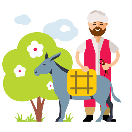 Donkey Drover in a flat style colorful Cartoon illustration. Illustration