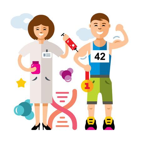 Doping and sport concept - cartoon illustration. Illustration