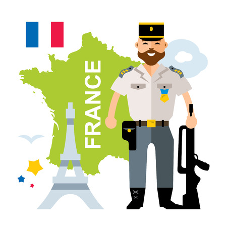 Vector France Police. Flat style colorful Cartoon illustration.