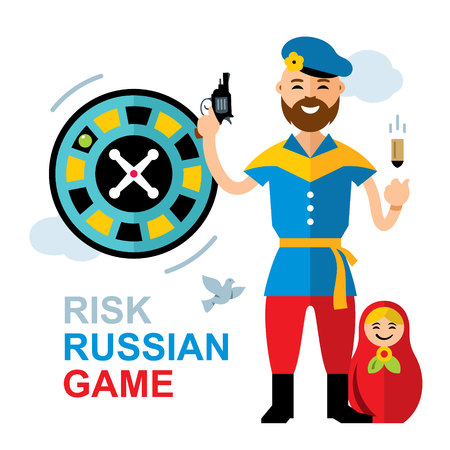 wheel of fortune: Vector Russian roulette concept. Flat style colorful Cartoon illustration. Illustration