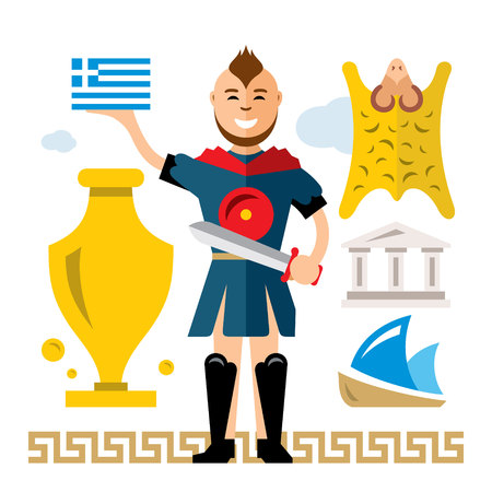 Vector Greece Concept. Flat style colorful Cartoon illustration. Illustration