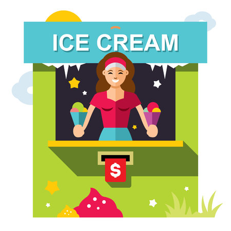 softcream: Vector Ice Cream outdoor kiosk. Flat style colorful Cartoon illustration.