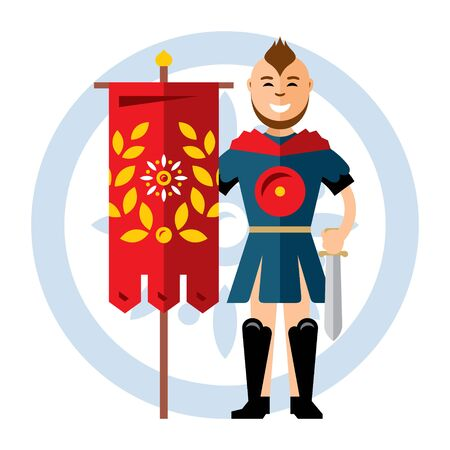 Vector Spartan warrior with the red flag. Flat style colorful Cartoon illustration. Illustration