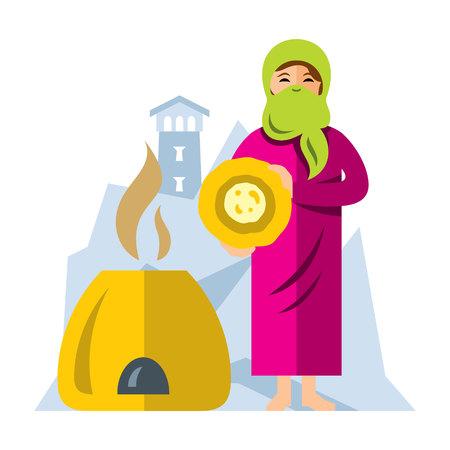 Vector Femme arabe musulmane, cuisson du pain. Illustration de Cartoon colorée style plat. Vecteurs