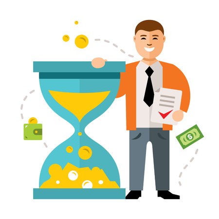 Time is money vector concept. Flat style colorful Cartoon illustration.