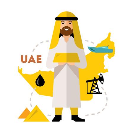 Vector Arab Oil Industry. Flat style colorful Cartoon illustration.