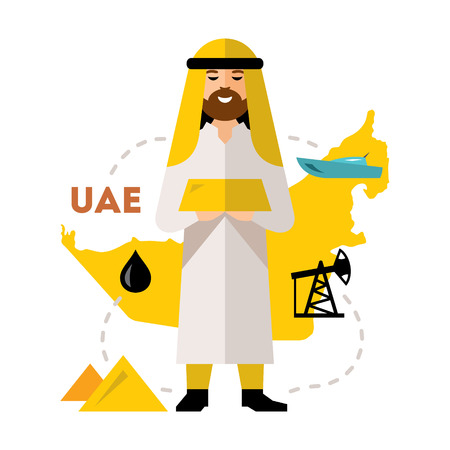 traders: Vector Arab Oil Industry. Flat style colorful Cartoon illustration.