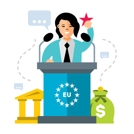 Vector Woman Speaker. Flat style colorful Cartoon illustration.