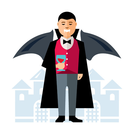 Vector Dracula Halloween. Flat style colorful Cartoon illustration.