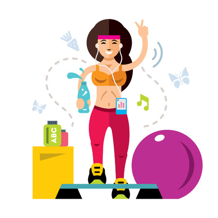 Vector fitness Girl. Flat style colorful Cartoon illustration.