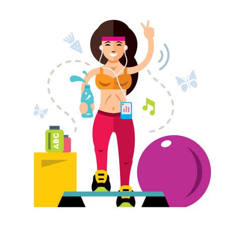 Vector fitness Chica. Ilustración de dibujos animados colorido estilo plano. Ilustración de vector