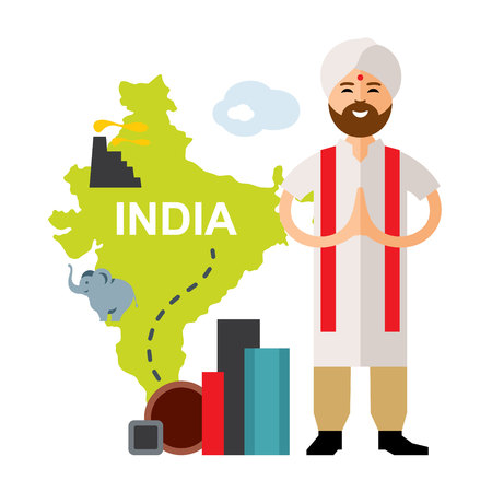 Vector Steel Industry in India. Flat style colorful Cartoon illustration.