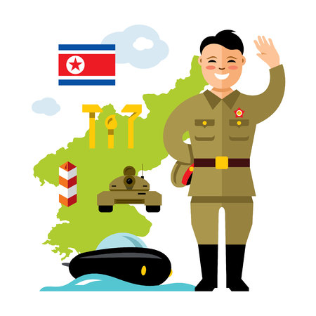 Vector Concept North Korea. Flat style colorful Cartoon illustration. Illustration