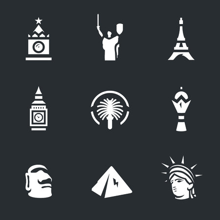 easter island: Vector Set of Landmark Icons.