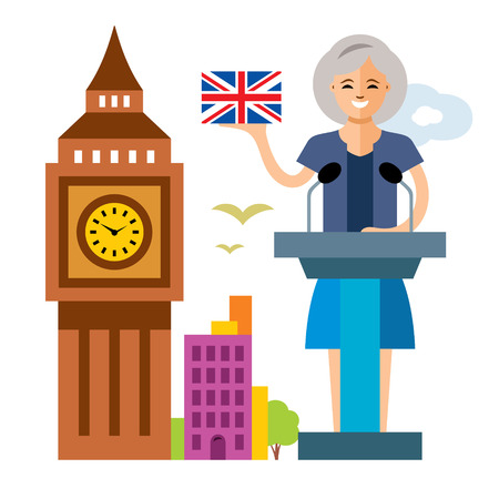 environmental policy: Vector United Kingdom policy. Woman politician. Flat style colorful Cartoon illustration.