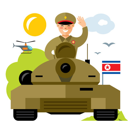 Vector Tankman North Korea. Flat style colorful Cartoon illustration. Stock Photo
