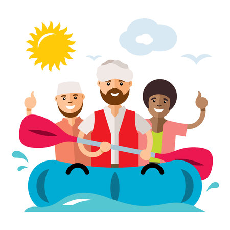 Vecctor Refugee migrants boat. Illegal migration. Flat style colorful Cartoon illustration.
