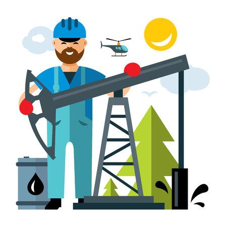 borehole: Oil Industry. Flat style colorful Cartoon illustration.