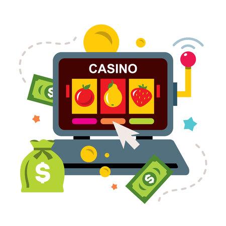 Online Casino concept, gambling. Flat style colorful Cartoon illustration. Illustration