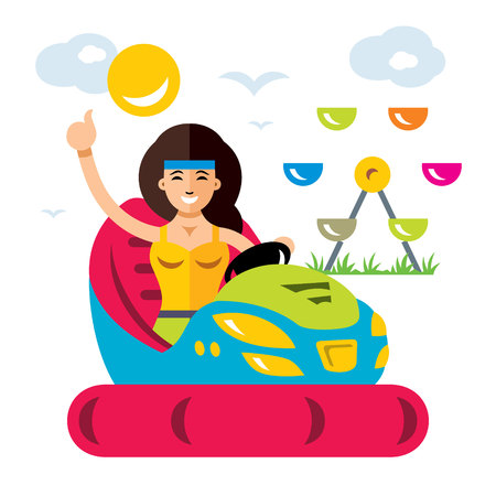 Amusement park. Flat style colorful Cartoon illustration. Ilustração