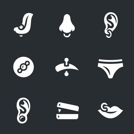 pierced: Vector Set of Piercing Icons. Illustration