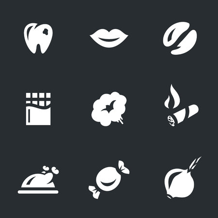 spoilage: Vector Set of Caries Icons. Illustration