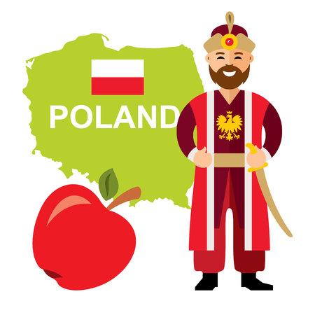 Vector Travel Concept Poland. Flat style colorful Cartoon illustration.