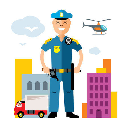 truck driver: Vector City Police. Law Enforcement. Flat style colorful Cartoon illustration.