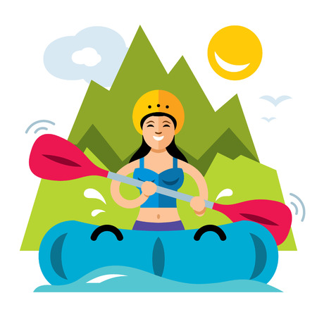 Vector rafting girl flat style colorful cartoon illustration.
