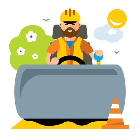 Vector Driver of road roller. Flat style colorful Cartoon illustration.