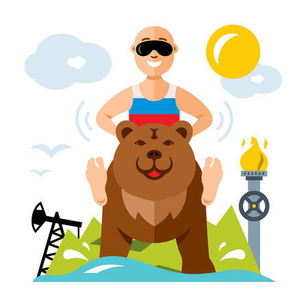 Vector Russian and industry. Flat style colorful Cartoon illustration.
