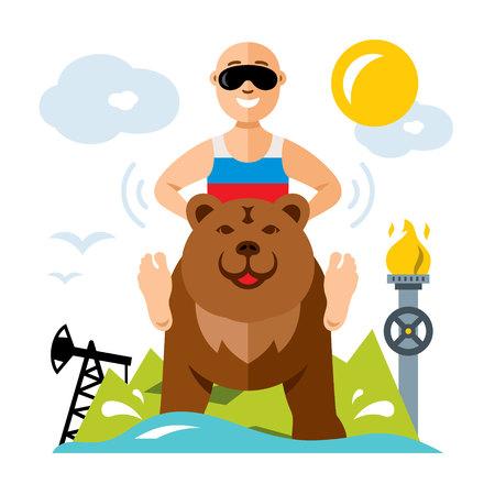 estereotipo: Vector ruso y la industria. Ilustración de dibujos animados colorido estilo plano.