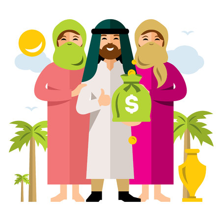 Vector Polygamy. Saudi man and his harem. Flat style colorful Cartoon illustration. Illustration