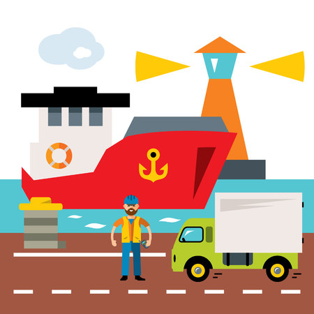 sea tanker ship: Vector Sea port. Cargo and shipping. Flat style colorful Cartoon illustration. Illustration